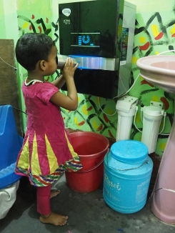 The children get access to clean drinking water from our water filter at the school.